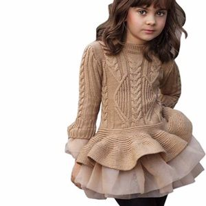 Other - Beautiful sweater dress peplum tunic tulle skirt